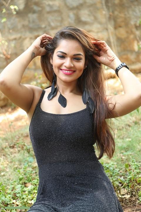 Ashwini black dress hot smile pose slide show