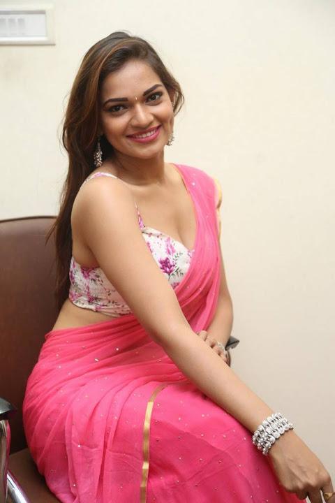 Ashwini pink saree figure stills