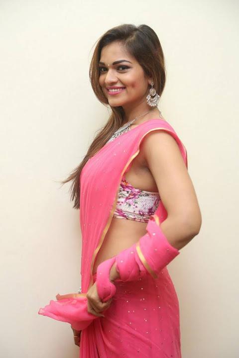 Ashwini pink saree glamour pics