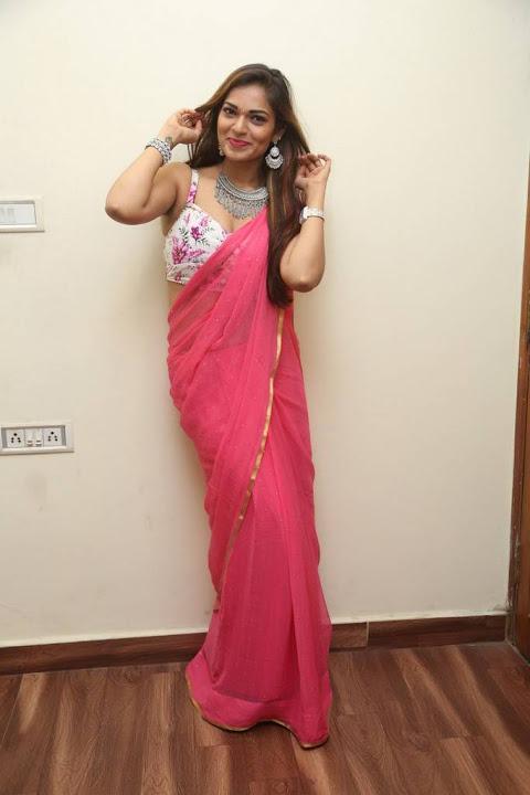 Ashwini pink saree hot pictures
