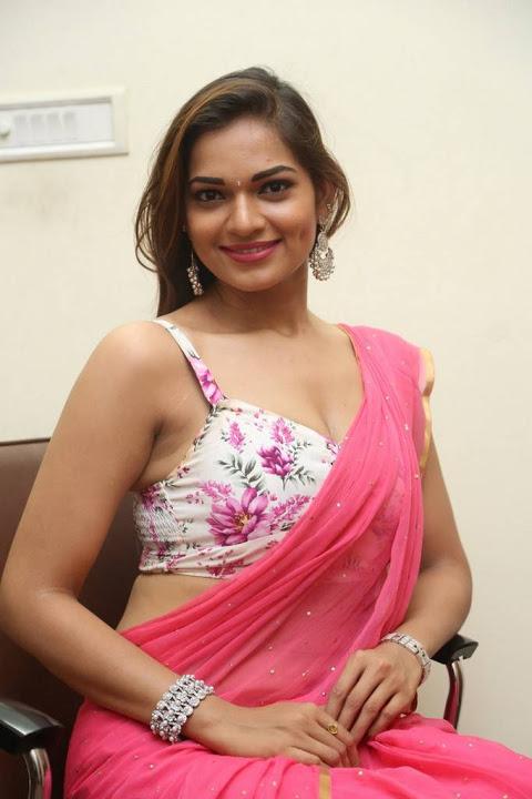 Ashwini pink saree smile pose gallery