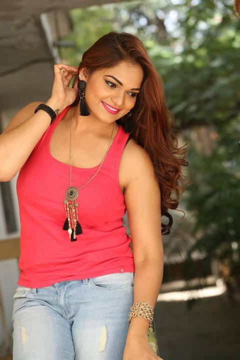 Ashwini red dress smile pose slide show