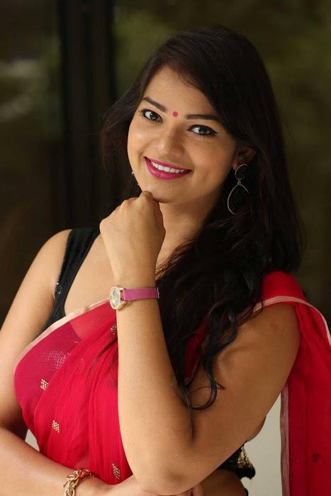 Ashwini red saree movie promotion photos