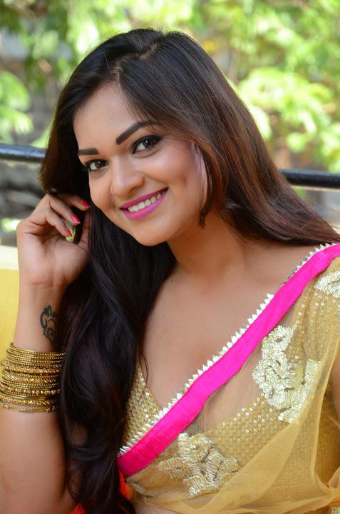 Ashwini yellow saree cool photos