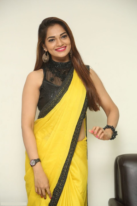 Ashwini yellow saree interview stills