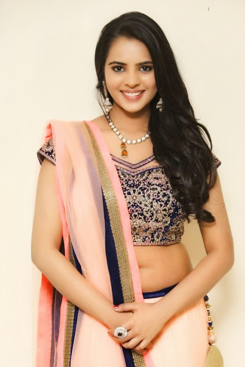 Manasa himavarsha light pink color saree hd pictures