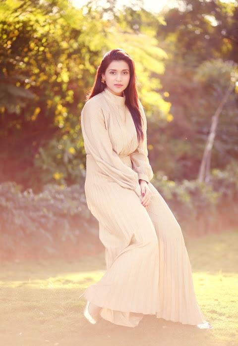 Mannara chopra white dress modeling stills