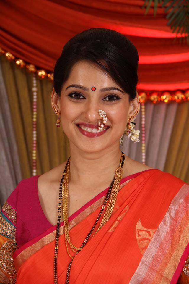 Priya bapat red saree photos
