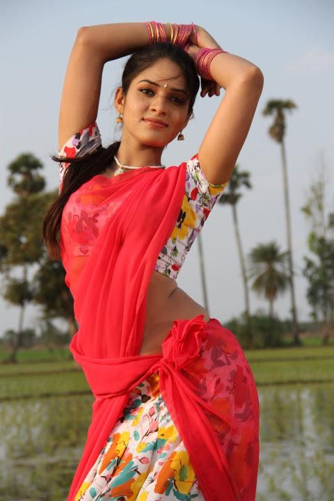 Sanyathara red color half saree wallpaper