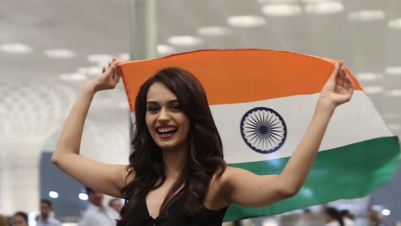 Manushi chhillar miss world 2017 with india nation flag