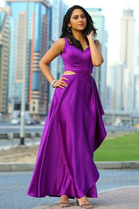 Miya george purple color dress photos
