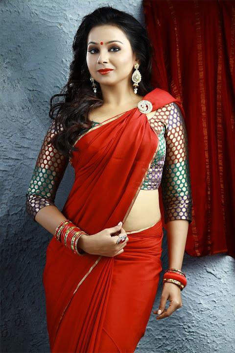 Mridula murali red saree pictures