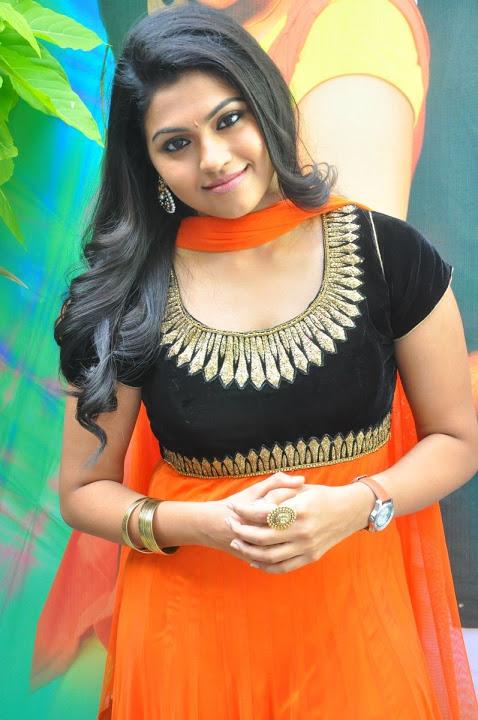 Nandhana orange color dress modeling photos