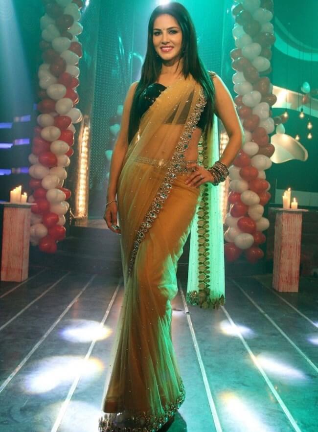 Sunny leone gold color saree photos