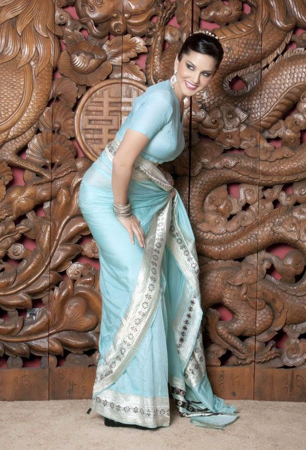 Sunny leone light green saree pictures