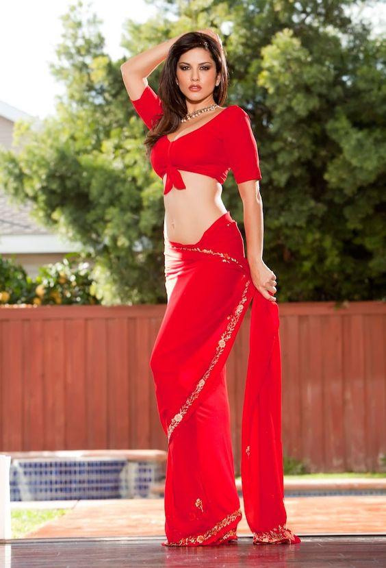 Sunny leone red saree pictures
