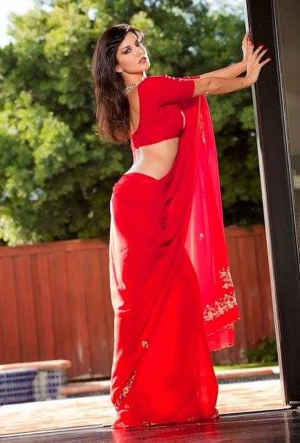 Sunny leone red saree stills