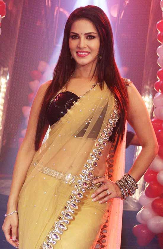 Sunny leone cream net saree photos