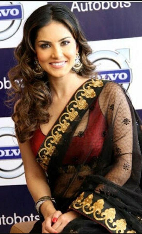 Sunny leone hot black transparent saree pictures