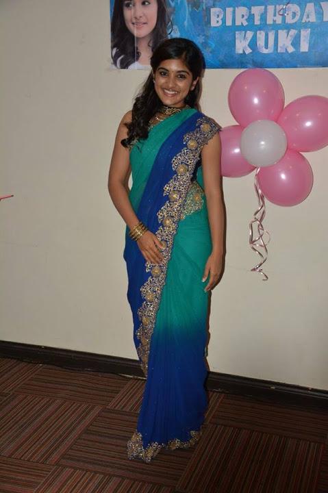 Niveda thomas green saree pictures