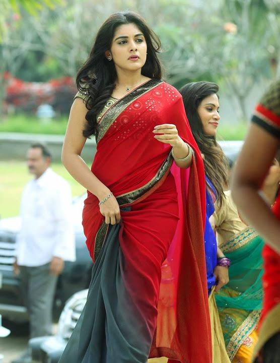 Niveda thomas red saree photos