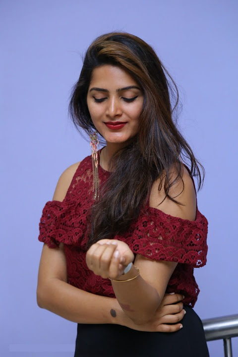 Pavani gangireddy red dress cute photos