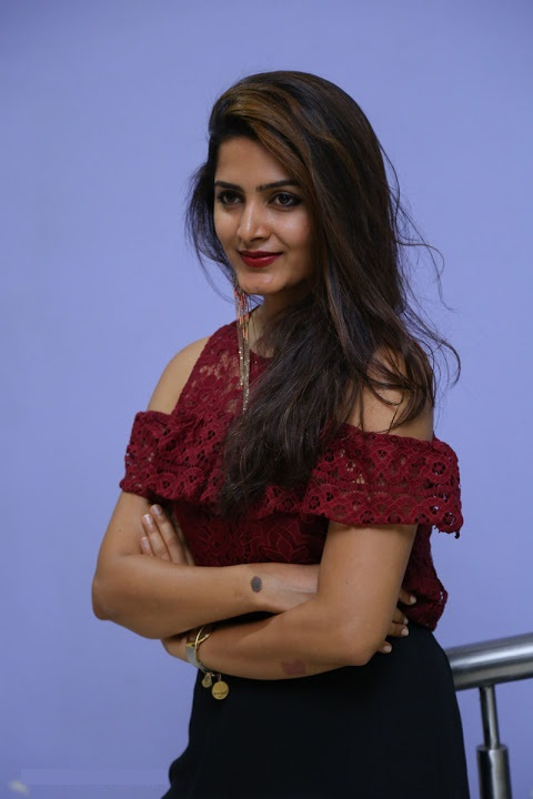 Pavani gangireddy red dress glamour image