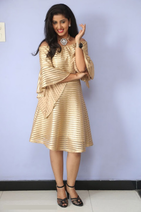 Pavani reddy gold color dress exclusive stills