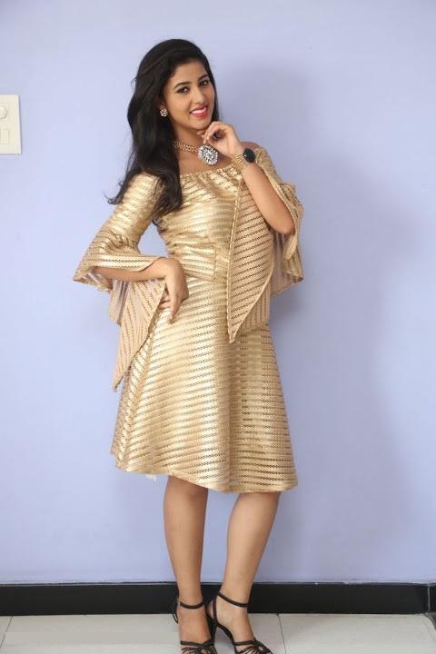 Pavani reddy gold color dress photoshoot photos