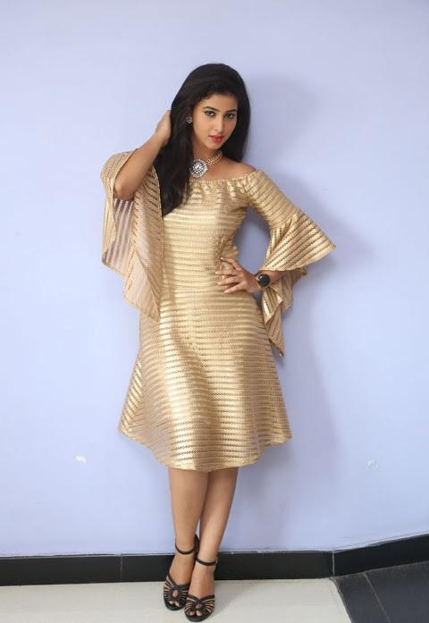Pavani reddy gold color dress pictures