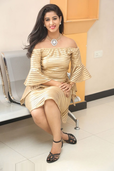 Pavani reddy gold color dress wide hd gallery