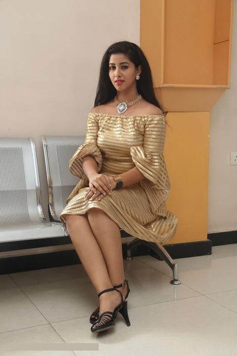 Pavani reddy gold color dress wide pictures