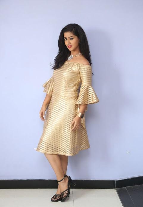 Pavani reddy unseen gold color dress photos