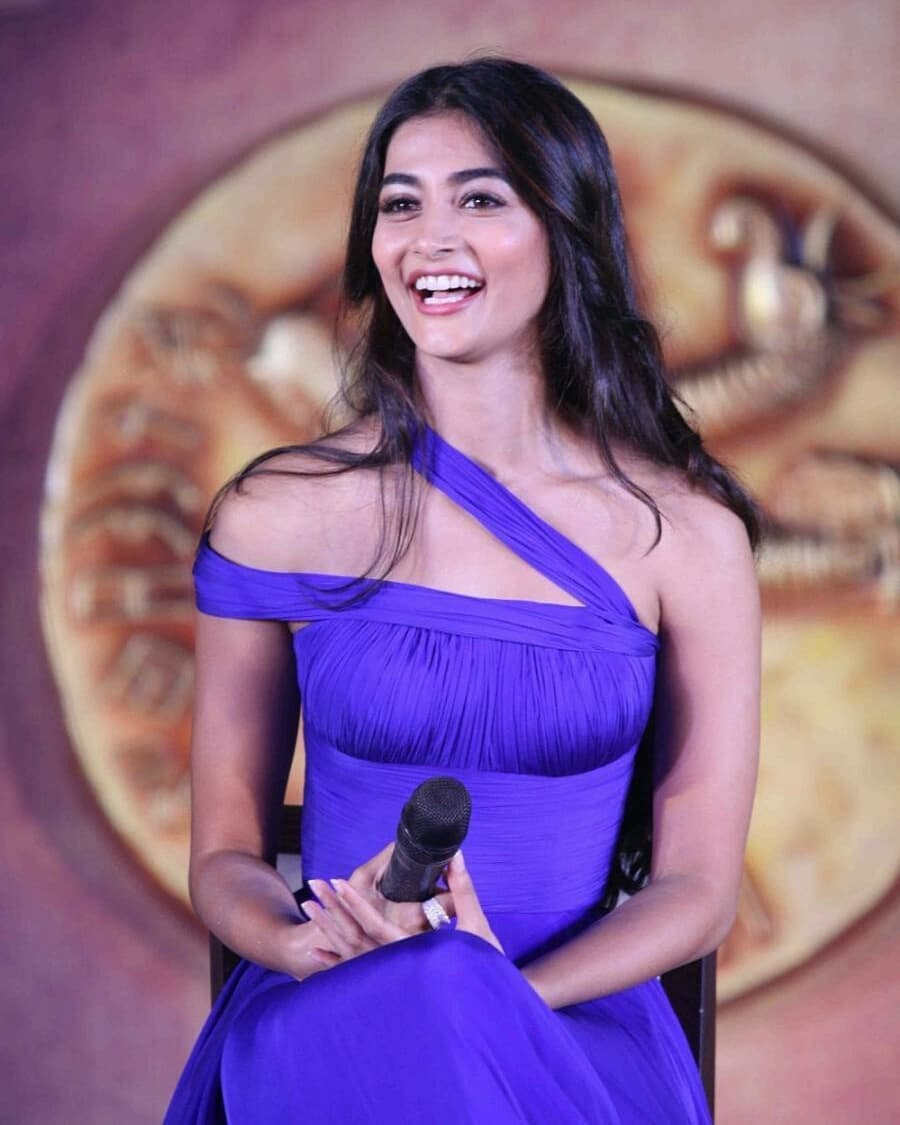 Pooja hegde blue dress smile pose pictures