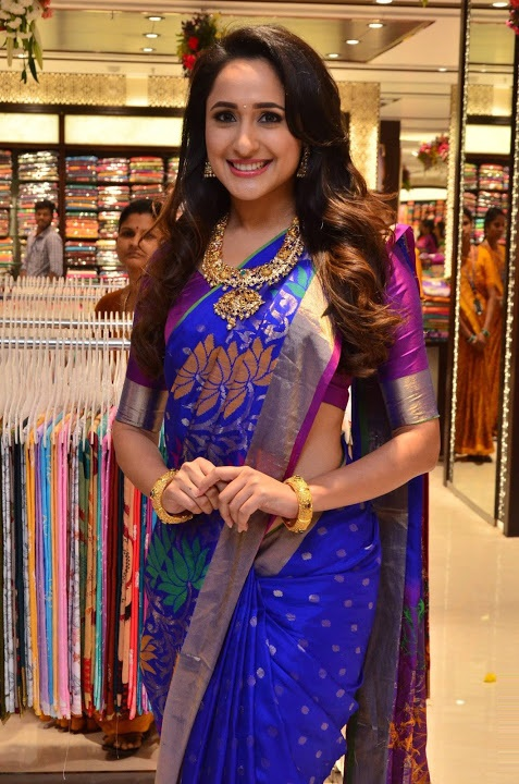 Pragya jaiswal blue saree photoshoot fotos