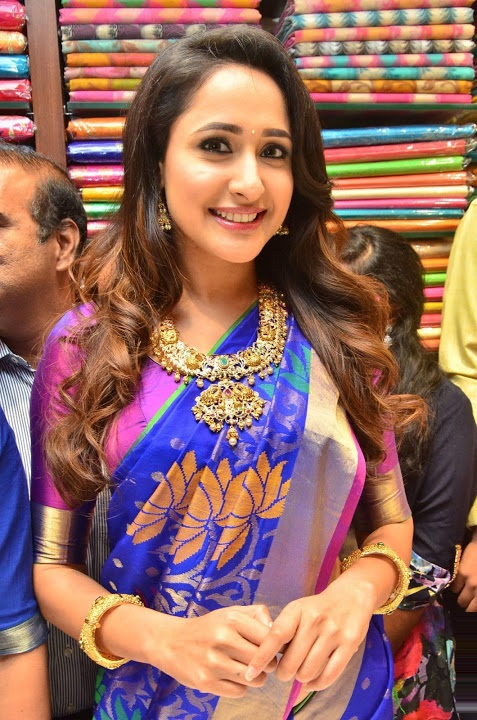 Pragya jaiswal blue saree smile pose gallery