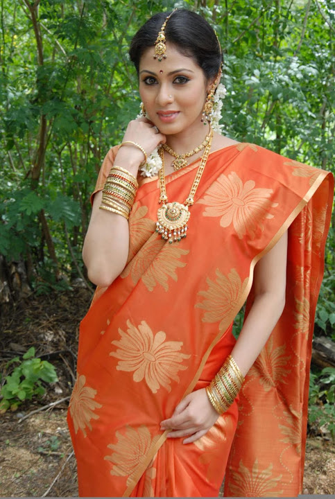 Sadha orange saree photos