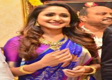pragya jaiswal blue saree pictures