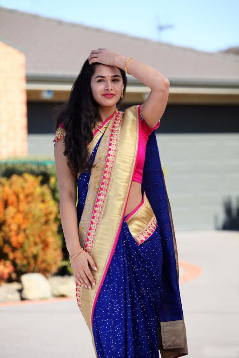 Prasanna blue saree wide stills