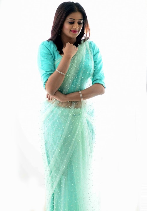 Priya mani light blue saree fashion stills