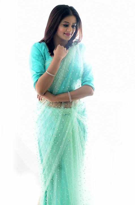 Priya mani light blue saree modeling gallery